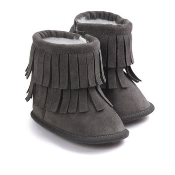 Fringe Fashion 2016 Winter Baby Girls Kids Infant Toddler Children PU Suede Leather Moccasin Moccs Soft Soled Shoes Boots Booty
