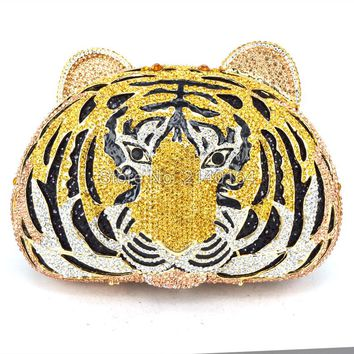 tiger crystal evening bags women Luxury clutch prom bag studded diamond evening clutches purse party animal 88177