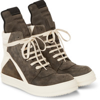 Rick Owens - Panelled Suede High-Top Sneakers | MR PORTER