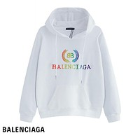 Balenciaga selling a new colorful embroidery logo with pure cotton loop hoodies White