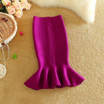 Alpha 2016 Winter new Korean Wrap Hip Women Fishtail Skirt Flounced Skirt Candy Color Pencil Slim Knitting Skirt