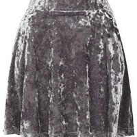 Grey Crush Velvet Skater Skirt - Skirts  - Clothing