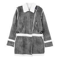 Fashion Women Faux Suede Notched Lapel Zipper Front Pocket Long Sleeve Long Coat Short Jacket Grey