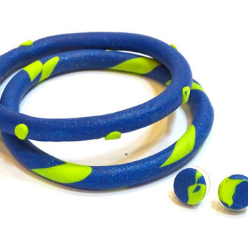 Two colorful blue and lime green polymer clay bangles (matching earrings sold separately)