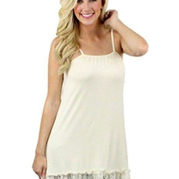 Cami Lace Extender, adjustable Straps, White