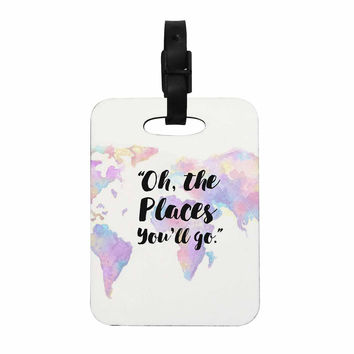 """Kess Original """"The Places You'll Go """" Purple Yellow Decorative Luggage Tag"""