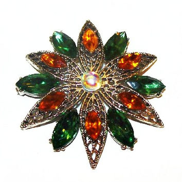 "Weiss Brooch Signed Green Orange Rhinestones Pinwheel Flower Design Silver Filigree Metal 2"" Vintage"