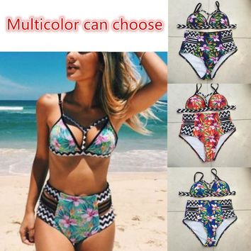 2018 New sexy bikini push swimsuit womens swimwear retro print bikini suit plus size swimwear Brazilian women high waist bikini