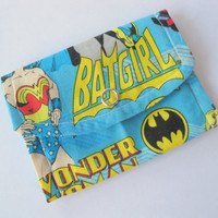 Womens card wallet, girls business card wallets, Batgirl marvel comic blue gift card holder, small coin purse, wonder women super hero