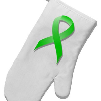 Lyme Disease Awareness Ribbon - Lime Green White Printed Fabric Oven Mitt