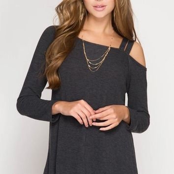 One-Shoulder Lightweight Sweater (Charcoal)