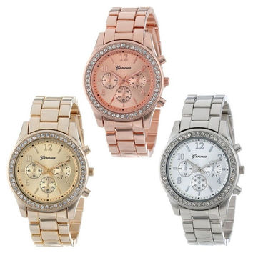 Faux Chronograph Quartz Classic Round Ladies Women Crystals Watch = 1956515012