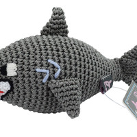 Dog Teeth Cleaning Cotton Crochet Squeaky Dog Toy for Small Dog - Shark - Jaws