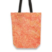 'Orange and red swirls doodles' Tote Bags by Savousepate on miPic