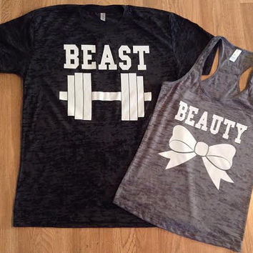 Free/Fast Shipping for US Beauty And The Beast Burn Out Tee and Tank(Charcoal Gray and Light Gray white decal)