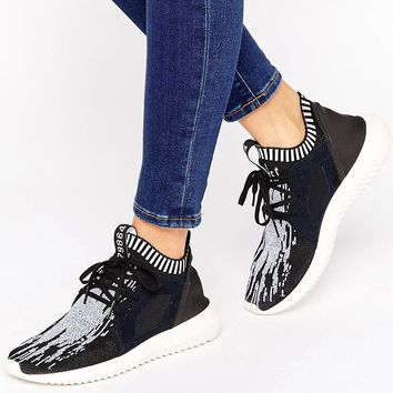 adidas Originals Black Print Primeknit Tubular Trainers at asos.com