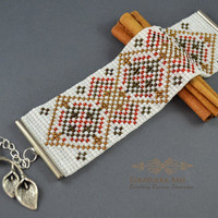 Bracelet woven on Backstrap looms, white dots, pattern, beads, braided, thick, etno, red, brown, metal