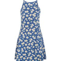 Blue Floral Print High Neck Skater Dress