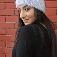 White Grey HandKnitted Headband With Silver Sequins Headwarmer Wide Headband Ear Warmer - Handmade
