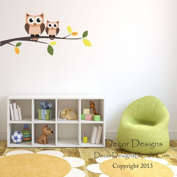 Owl Branch Wall Decal, by Decor Designs Decals, Owls on a Branch for Baby Nursery, Kids Room Decals - Owl Wall Decals - Branch Wall Decals - Owl Branch - Wall Decals