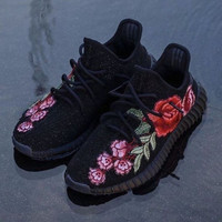 Adidas Yeezy 350 V2 Floral Embroidery Sneakers Running Sports Shoes