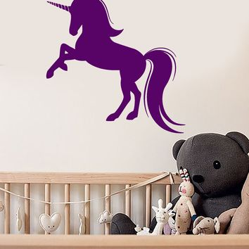Vinyl Wall Decal Cartoon Magic Unicorn Fairy Tale Children's room Decor Stickers (2745ig)