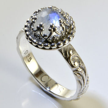Romantic Moonstone Ring in Sterling Silver, Faceted Rainbow Moonstone in Crown Setting