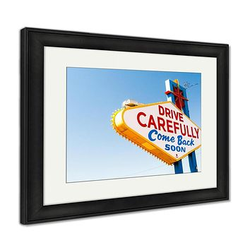 Framed Print, Welcome To Fabulous Las Vegas Sign Las Vegas Nevadusa