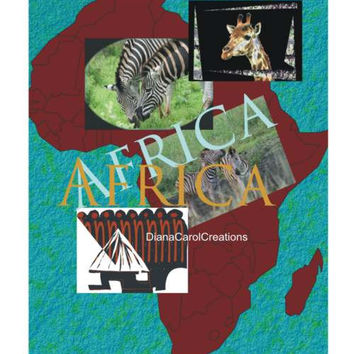 Africa Map Collage Printable Art Ready To Download..Frame For Your Home Or Create Greeting Cards Or Other Scrapbook Or Art Projects.