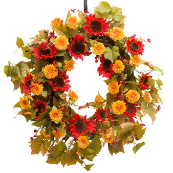 Red Sunflower, Zinnia & Berry Fall Wreath (FW964)