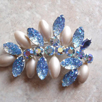 Blue Volcano Brooch Pin Continental AB Rhinestones Cotton Pearl Vintage 083013MF
