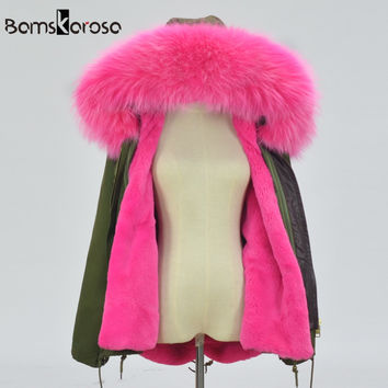 2016 Winter Jacket Women Coat Warm Detachable Lining Big Raccoon Fur Collar Hooded Army Green Brand Design Parka Outwear