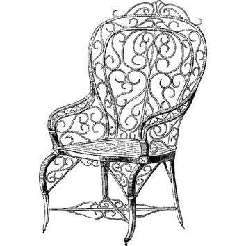 Art Deco Iron Chair Plastisol Heat Transfer