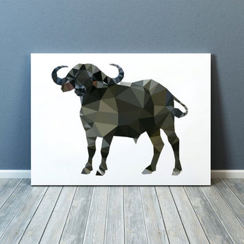 African buffalo poster Modern art Animal print Colorful decor TOA92