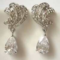 Theresse Exceptional Vintage Inspired Beach Wedding Themed Bridal Earrings by Romantic Brides