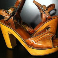 Vintage Wood and Leather Platform Heels by theeclecticpackrat