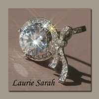 Designer Bow Ring with 3 Carat Diamond Equivalent CZ and Diamond Bow & Halo - LS1306