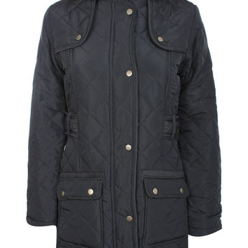 Luna Quilted Detachable Hood Long Sleeve Coat in Navy Blue