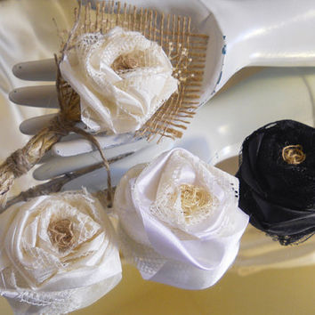 Burlap Boutonniere, handmade of silk, lace, twine and natural burlap. Rose color is available in Ivory, White or Black.