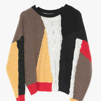 Multi Color Crop Wool Sweater
