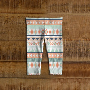 Mint and Coral Tribal Baby Leggings, Toddler Leggings
