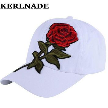 DCCKU62 new trendy luxury women girl beauty baseball cap rose floral design hip hop snapback hats white red spring summer autumn hat