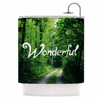 "Chlesea Victoria ""Wonderful"" Green Nature Shower Curtain"