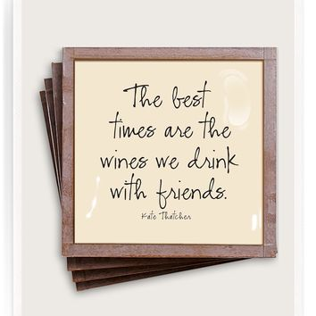 The Best Times Copper & Glass Coasters, Set of 4