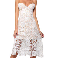 White Push Up Strapless Floral Lace Dress