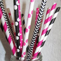 50 MINNIE MOUSE PARTY Paper Straws Mixed Pink and Black Stripes Dots Chevron DiY Flags- Kids Birthday Baby Shower Ships Fast! Free Tracking!