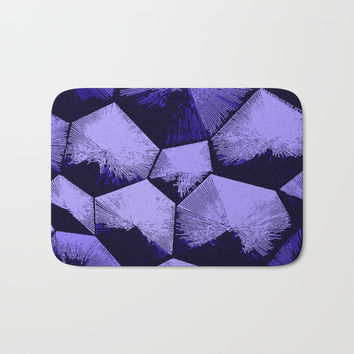 Purple and black geometric blocks pattern Bath Mat by Casemiro Arts - Peter Reiss