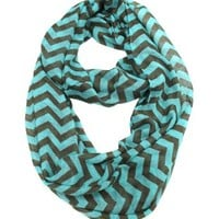 Modadorn New Arrivals Chevron Infinity Scarf MINT/BROWN