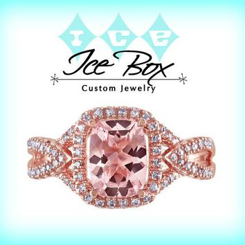 Morganite Engagement Ring 1.3ct Cushion cut in a 10k Rose Gold Diamond  Rectangle Halo setting