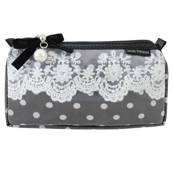 "Polka Dot Romance Small Cosmetic Bag 7.25""""X4""""X2"""" Black: Black"
